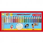 Pastelli colorati - Astuccio 18 Pastelli Stabilo Woody 3In1 + Temperino -