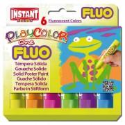 Tempere - belle arti - Tempera Solida Playcolor 6 Colori Fluo In Stick Da 10gr -