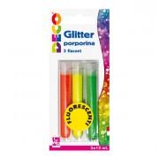 Glitter e porporina - Blister Glitter 3 Flaconi grana Fine 12Ml Colori Assortiti Fluo Cwr -