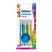 Glitter e porporina - Blister Glitter 3 Flaconi grana Fine 12Ml Colori Assortiti Iridescenti Cwr -