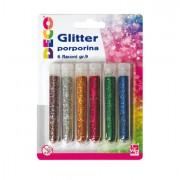 Glitter e porporina - Blister Glitter 6 Flaconi grana Fine 12Ml Colori Assortiti Cwr -