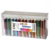 Glitter e porporina - Glitter 50 Flaconi grana Fine 12Ml Colori Assortiti Cwr -