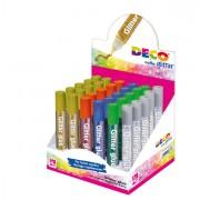 Glitter e porporina - Display Colla Glitter 30 Penne 10,5Ml Colori Assortiti Metal Cwr -