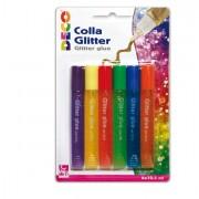 Glitter e porporina - Blister Colla Glitter 6 Penne 10,5Ml Colori Pastello Assortiti Cwr -