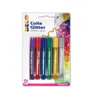 Glitter e porporina - Blister Colla Glitter 6 Penne 10,5Ml Colori Assortiti Metal Cwr -