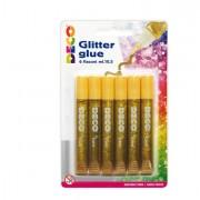 Glitter e porporina - Blister Colla Glitter 6 Penne 10,5Ml Oro Cwr -