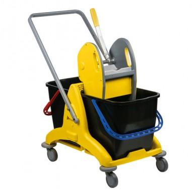 Accessori per pulizia ambienti - Carrello Doppia Vasca 25+25Lt Con Pressa Pressclean -