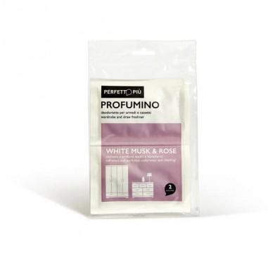 Assorbiumidita  profumatori  candele - Conf. 2 Buste Profumino Muschio Bianco E Rosa Perfetto -