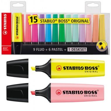 Colore liquido - Deskset 15 Evidenziatori Boss 70 Colori Fluo+Pastel Stabilo -