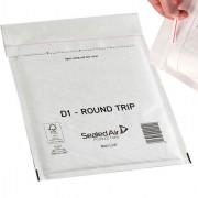 Buste imbottite - Conf.100 Buste Imbottite Bianche D 18x26Cm Andata-Ritorno Mail Lite Round Trip -