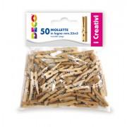 Accessori lavori manuali - Confezione 50 Mollette In Legno 25mm Colore Naturale Cwr -