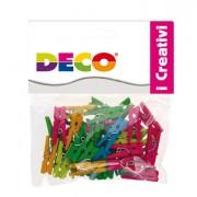 Accessori lavori manuali - Confezione 45 Mollettine In Legno 25mm Colori Neon Cwr -