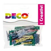 Accessori lavori manuali - Confezione 45 Mollettine In Legno 25mm Colori Pastello Cwr -