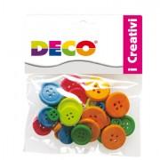 Accessori lavori manuali - Confezione 30 Bottoni In Legno Colori Neon Cwr -