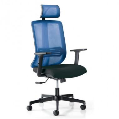 Sedute direzionali - Poltrona ergonomica Vertigo Blu/Nero No FLAME con poggiatesta e braccioli -