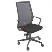 Sedute direzionali - Poltrona semidirezionale I70 Nero e schienale rete nera con bracc. -