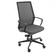 Sedute direzionali - Poltrona semidirezionale I70 Grigio e schienale rete nera con bracc. -