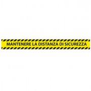 Segnaletica - Conf. 5 adesivi da terra L90xH10cm MANTENERE LA DISTANZA DI SICUREZZA -