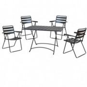 Tavoli e sedute da esterni - Set pranzo pieghevole Mery antracite - set 5 elementi -