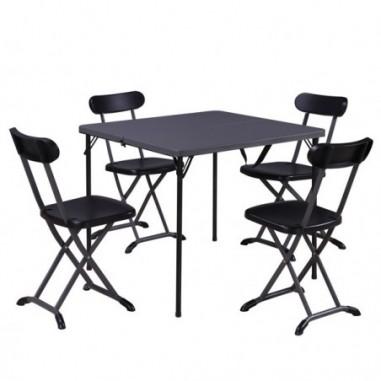 Tavoli e sedute da esterni - Set pranzo pieghevole Horeca antracite - set 5 elementi -