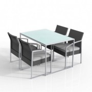 Tavoli e sedute da esterni - Set pranzo Bilbao nero/grigio - set 5 elementi -