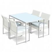 Tavoli e sedute da esterni - Set pranzo Bilbao bianco/grigio - set 5 elementi -