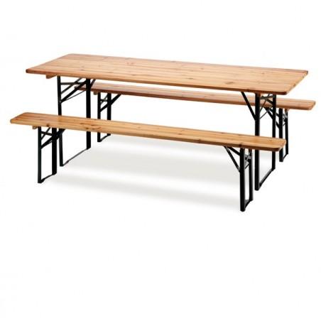 Tavoli e sedute da esterni - Set birra pieghevole legno - set 3 elementi -