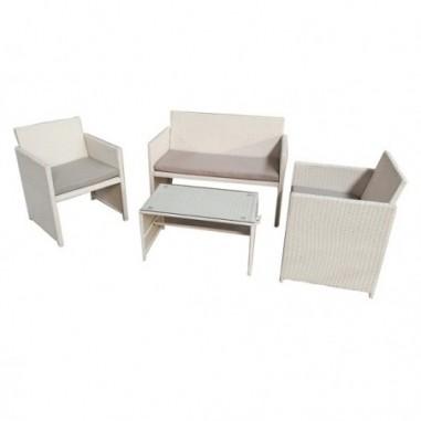Tavoli e sedute da esterni - Salotto Valencia nero/bianco - set 4 elementi -