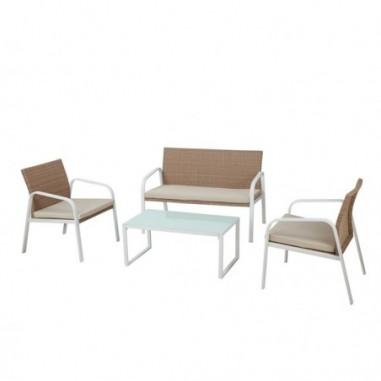 Tavoli e sedute da esterni - Salotto Madeira bianco/beige - set 4 elementi -