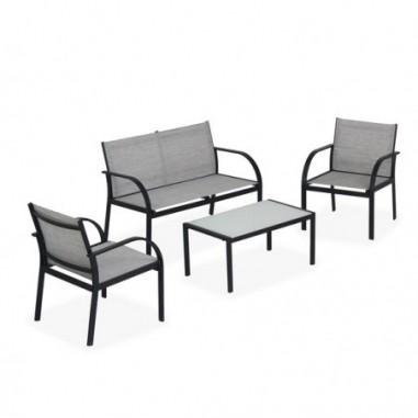 Tavoli e sedute da esterni - Salotto Ankara nero/grigio - set 4 elementi -