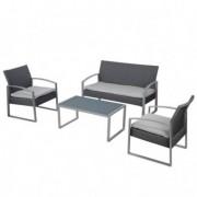 Tavoli e sedute da esterni - Salotto Alicante nero/grigio - set 4 elementi -