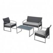 Tavoli e sedute da esterni - Salotto Alicante bianco/grigio - set 4 elementi -