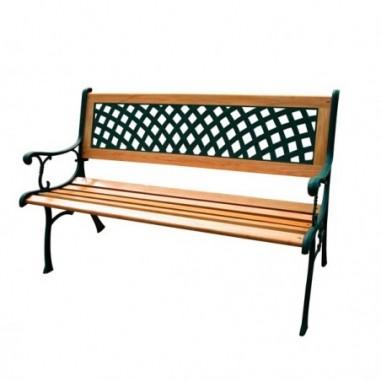Tavoli e sedute da esterni - Panca da giardino Rombo L125cm in ghisa e legno -