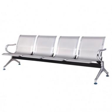 Sedute attesa e accessori - Panca attesa a 4 posti in acciaio Grigio -