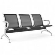Sedute attesa e accessori - Panca attesa a 3 posti in acciaio Nero -