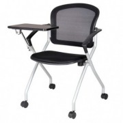 Sedute attesa e accessori - Seduta conferenza Phoenix con tavoletta e 4 ruote nero -