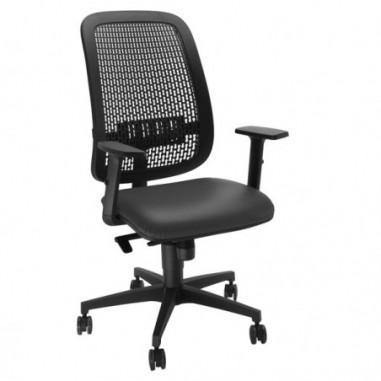 Sedute operative - Sedia operativa Equity schienale PP e seduta similpelle nera con bracc. -
