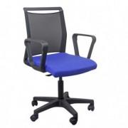 Sedute operative - Sedia home/office Smart Light schienale in rete nero seduta blu con braccioli -