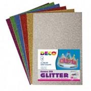 Accessori lavori manuali - Busta 10 fogli Gomma Crepp Glitter 20x30cm colori assortiti Cwr -