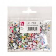Accessori lavori manuali - Busta 600 pz occhi con iridi in movimento diam. 5-7mm colori assortiti Cwr -