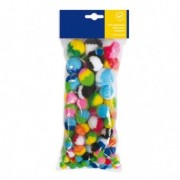 Accessori lavori manuali - Busta 100 pz pom-pon a strisce dim. 10-35mm in colori assortiti Cwr -